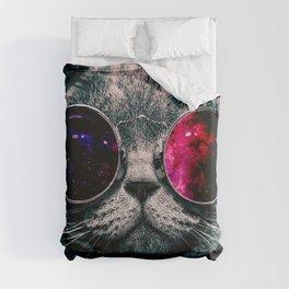 sunglasses cat Duvet Cover