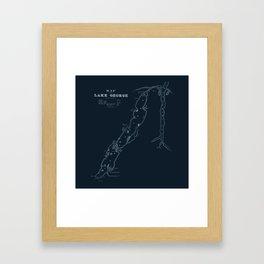 1853 Map of Lake George (navy) Framed Art Print