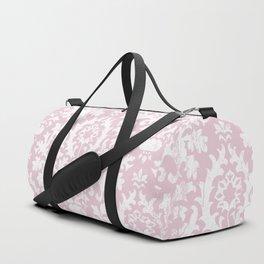 Vintage blush pink white grunge floral damask Duffle Bag