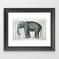 Elephant on Hindi Framed Art Print
