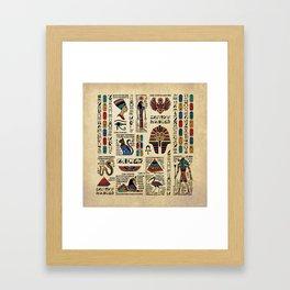 Egyptian hieroglyphs and deities on papyrus Framed Art Print