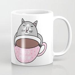 Cute cartoon cat hugging a cup of coffee by Julia Gosteva Coffee Mug