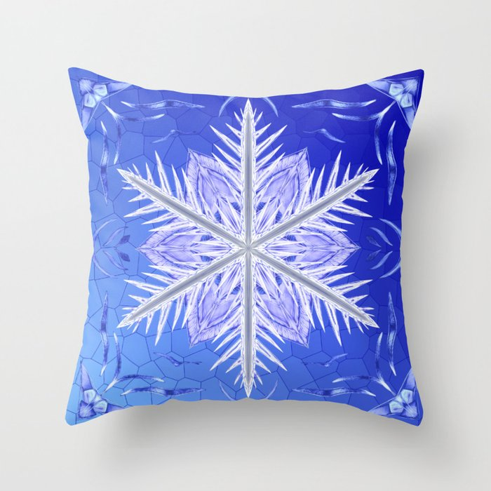 Snowflake Pattern - Bladed Sky Throw Pillow