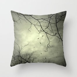 Spooky Kettle of Turkey Vultures Throw Pillow