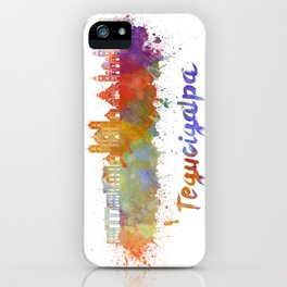 Tegucigalpa skyline in watercolor iPhone Case