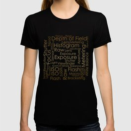 Photography Terms Word Cloud Pattern Gold on Black T-shirt