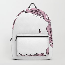 Skull and Spinal Column With Snakes Drawing Backpack