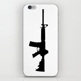 AR15 in black silhouette on white iPhone Skin