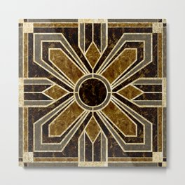 Art Deco Floral Tiles in Browns and Faux Gold Metal Print