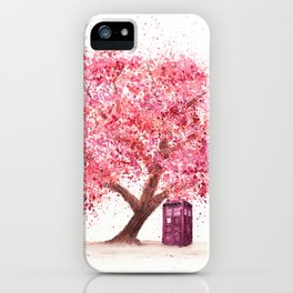 Tardis Tree Art Blossom iPhone Case