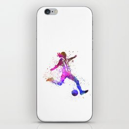 Girl playing soccer football player silhouette iPhone Skin