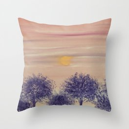 Sunset and trees Throw Pillow