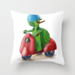 Speed Racing Biker Turtle Throw Pillow