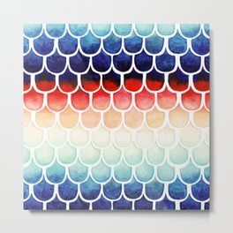 Retro Rainbow Mermaid Scales Metal Print