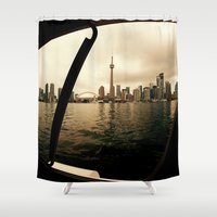 cityscape Shower Curtains featuring Cityscape by sysneye