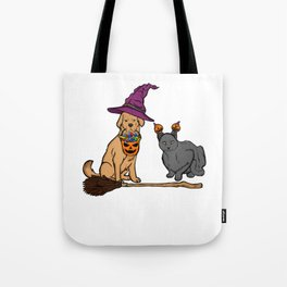 Cute Dog & Cat with Witch Broom Halloween Tote Bag
