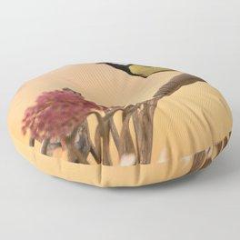 Songbird (Great Tit) on Autumn Day #decor #society6 #buyart Floor Pillow