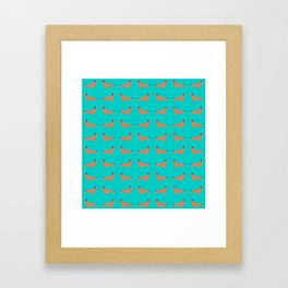 Teal Dachshund Framed Art Print