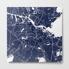 Amsterdam Navy Blue on White Street Map Metal Print