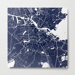 Amsterdam Navy Blue on White Street Map Metal Print