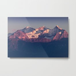 Three Peaks in Violet Sunset Metal Print