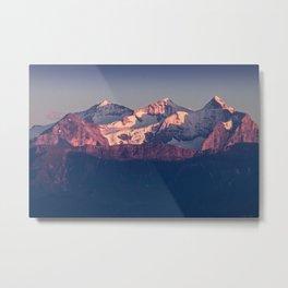 Three Peaks in Violet Sunset Metal Print