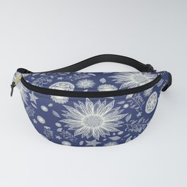 Beautiful Flowers in Navy Vintage Floral Design Fanny Pack