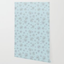 Assorted Silver Snowflakes On Light Blue Background Wallpaper