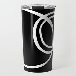 Black and White Circles Abstract Modern Travel Mug
