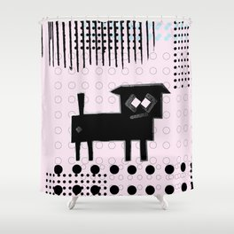 ODD MIKEY Stuff - Doggy with Pink eyes Shower Curtain