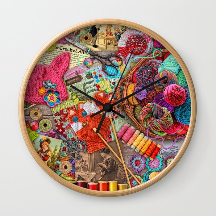 Vintage Yarn & Thread Wall Clock