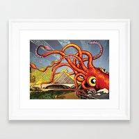 milwaukee Framed Art Prints featuring MILWAUKEE: What's Kraken, Milwaukee? by Amanda Iglinski
