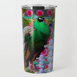 YELLOW-PUCE  PURPLE & PINK ROSES GREEN PEACOCK FLORAL Travel Mug