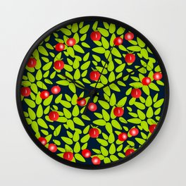 Cherry, apples and leaves print Wall Clock