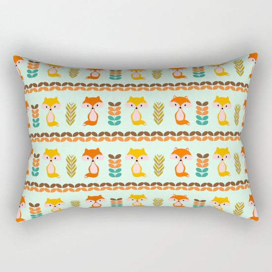 Foxes, grains and leaves Rectangular Pillow