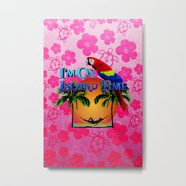 Pink Hibiscus Island Time And Parrot Metal Print