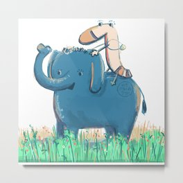 Blue Elephant and Yellow Sock Friends Metal Print