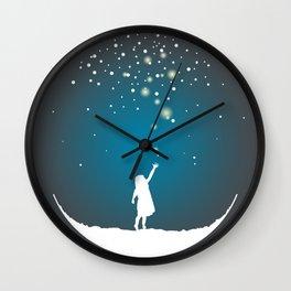 Christmas Girl Snowball - Make a Wish Wall Clock