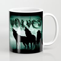 wolves Mugs featuring WolveS by shannon's art space