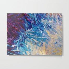 NIGHT FLOWERS - Beautiful Midnight Florals Feathers, Eggplant Lilac Periwinkle Cream Modern Abstract Metal Print