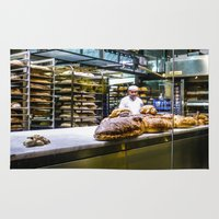 baking Area & Throw Rugs featuring Baking the alligator bread by Stu Naranch