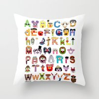 sesame street Throw Pillows featuring Sesame Street Alphabet by Mike Boon