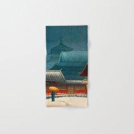 Vintage Japanese Woodblock Print Japanese Red Shinto Shrine Pagoda Winter Snow Hand & Bath Towel