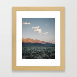 Sierra Mountains with Harvest Moon Framed Art Print