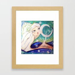 moon shine in pastel Framed Art Print