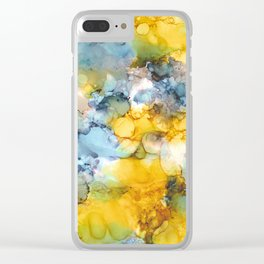 NEW Alcohol Ink 'Fools Gold' Clear iPhone Case
