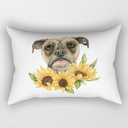 Cheerful | Bulldog Mix with Sunflowers Watercolor Painting Rectangular Pillow