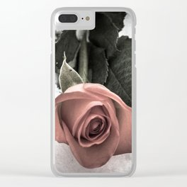 Rose resting in the snow Clear iPhone Case