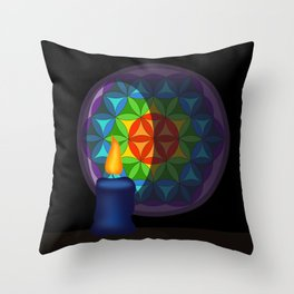 Flower of life in the candlelight Throw Pillow
