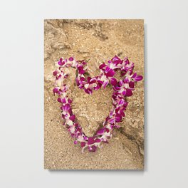 Heart Lei on the Sand Metal Print